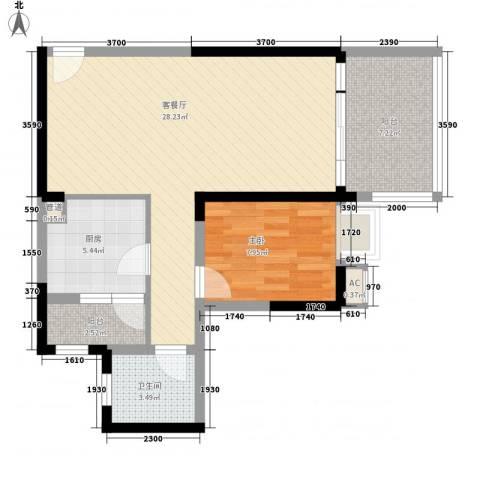 高炮预备役家属楼1室1厅1卫1厨80.00㎡户型图