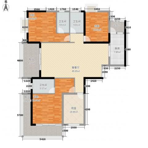 中建江山壹号3室1厅3卫1厨184.00㎡户型图