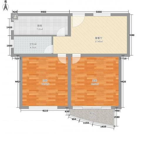 新领地2室1厅1卫1厨94.00㎡户型图