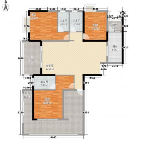 中建江山壹号3室1厅3卫1厨183.00㎡户型图