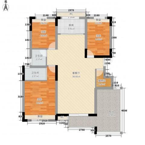 谊苑小区3室1厅2卫1厨120.00㎡户型图