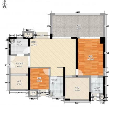 深业东城上邸2室1厅2卫1厨88.15㎡户型图