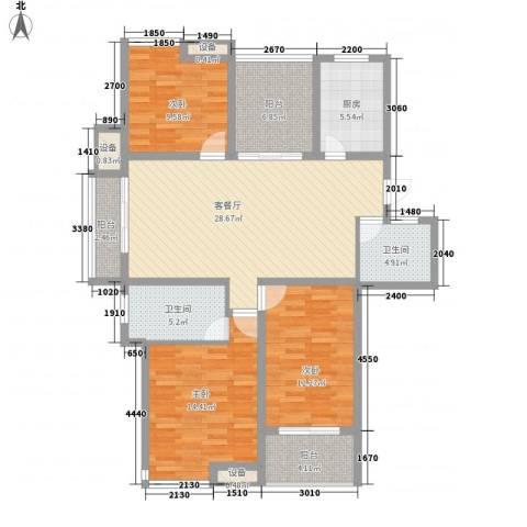 栖霞栖庭3室1厅2卫1厨138.00㎡户型图
