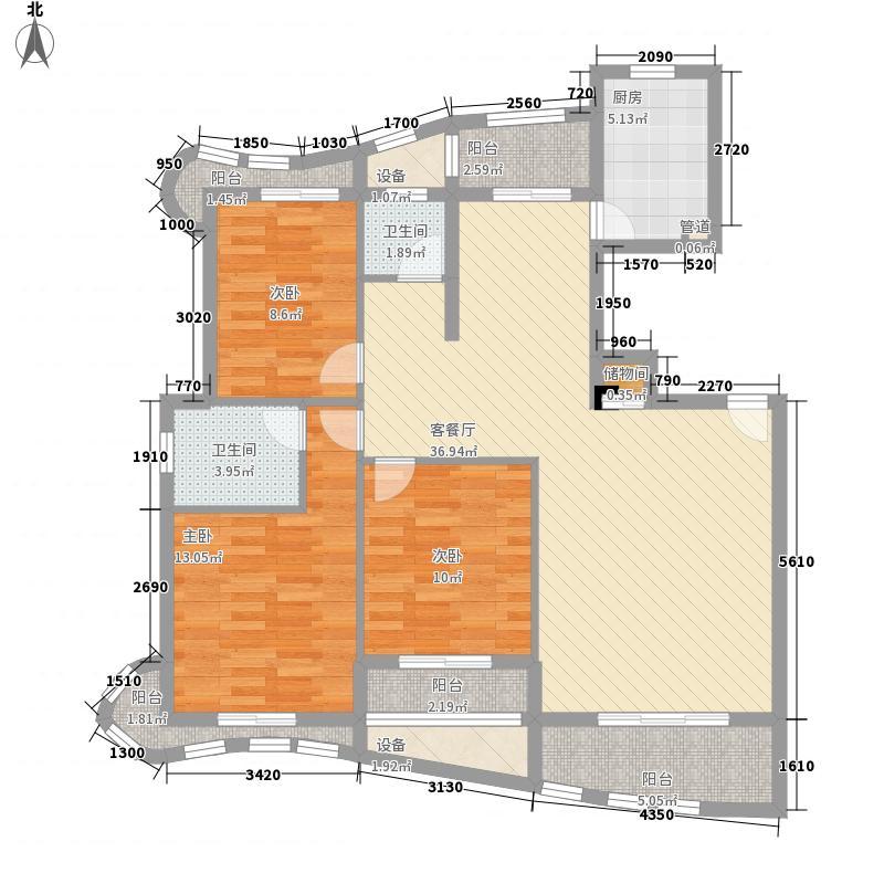 绿苑新城142.48㎡13#楼01单元户型3室2厅2卫1厨