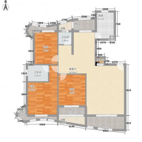 绿苑新城3室1厅2卫1厨142.00㎡户型图