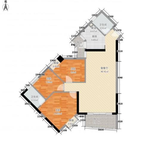 江南苑3室1厅2卫0厨97.00㎡户型图