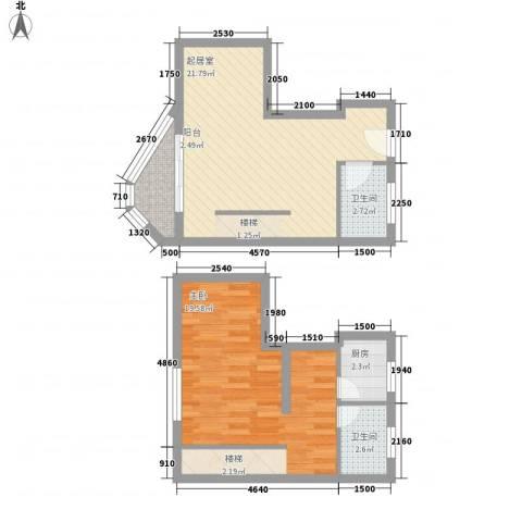 博鳌左岸1室0厅2卫1厨75.00㎡户型图