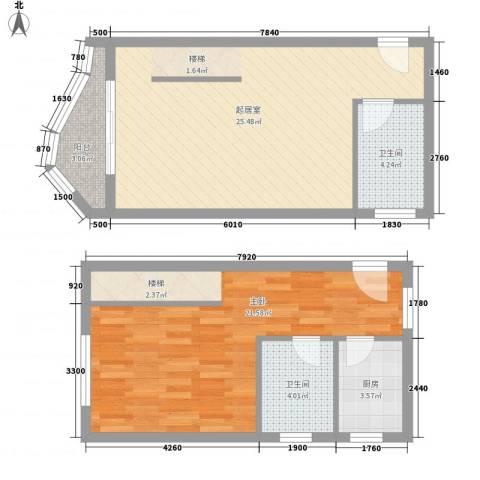 博鳌左岸1室0厅2卫1厨89.00㎡户型图