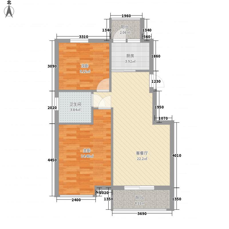 凤凰湖84.00㎡户型2室2厅1卫1厨