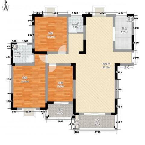 联发江岸汇景3室1厅2卫1厨142.00㎡户型图