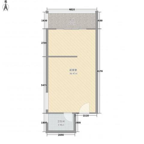 博鳌左岸1卫0厨65.00㎡户型图