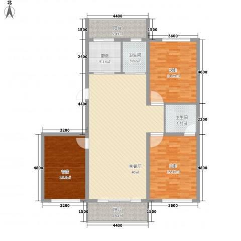 美景天城3室1厅2卫1厨116.00㎡户型图