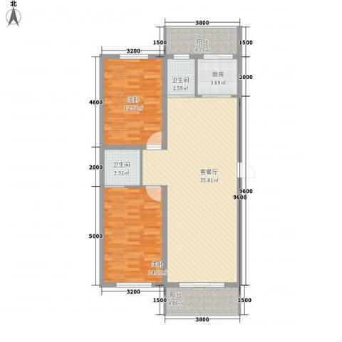 美景天城2室1厅2卫1厨97.00㎡户型图
