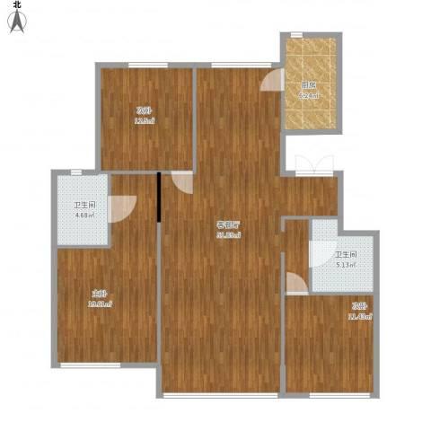 华润橡树湾3室1厅2卫1厨151.00㎡户型图