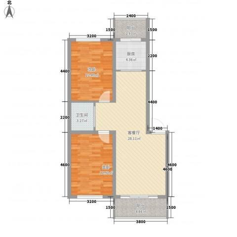 美景天城2室1厅1卫1厨85.00㎡户型图