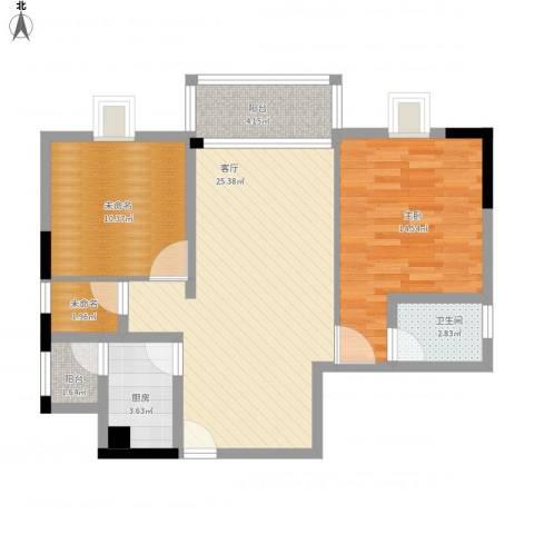 东城中心六期1室1厅1卫1厨94.00㎡户型图