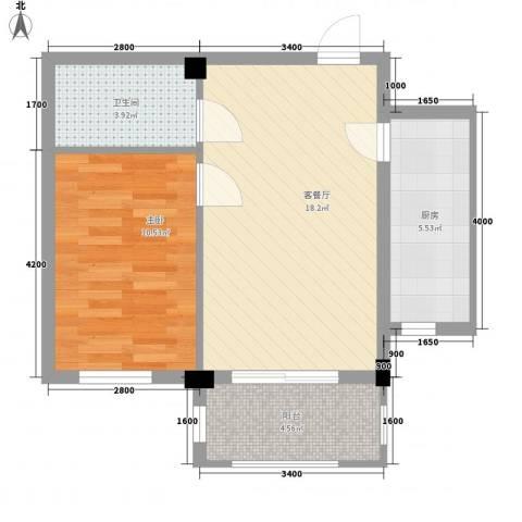 湾德里华府1室1厅1卫1厨48.62㎡户型图
