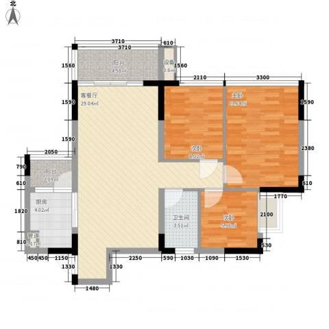 金碧丽江东第3室1厅1卫1厨89.00㎡户型图