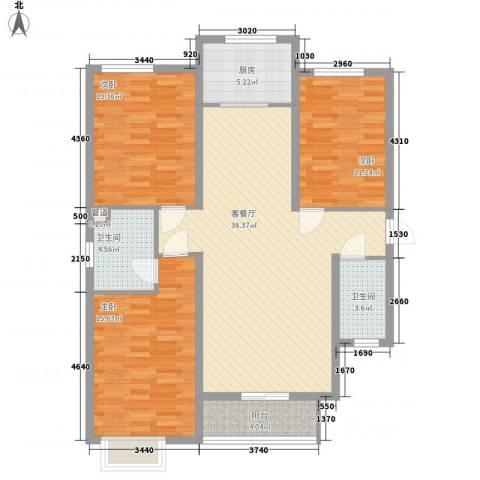 达诺现代城3期 新域3室1厅2卫1厨134.00㎡户型图