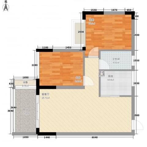 金碧丽江东第2室1厅1卫1厨75.00㎡户型图