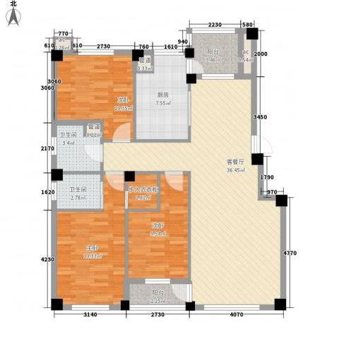 华锦铭苑3室1厅2卫1厨134.00㎡户型图