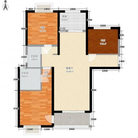 蓝鼎滨湖假日枫丹苑3室1厅2卫1厨111.00㎡户型图