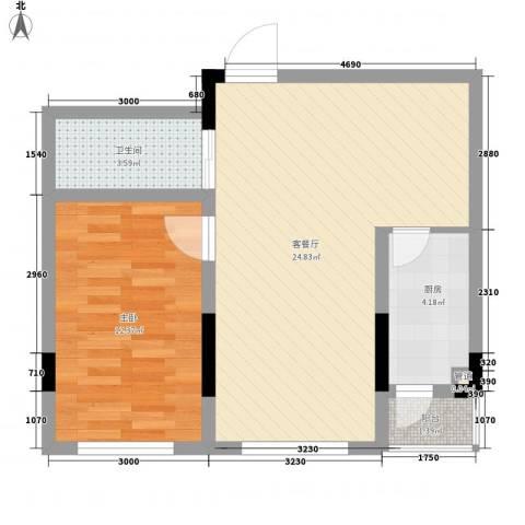 天富北苑1室1厅1卫1厨53.49㎡户型图