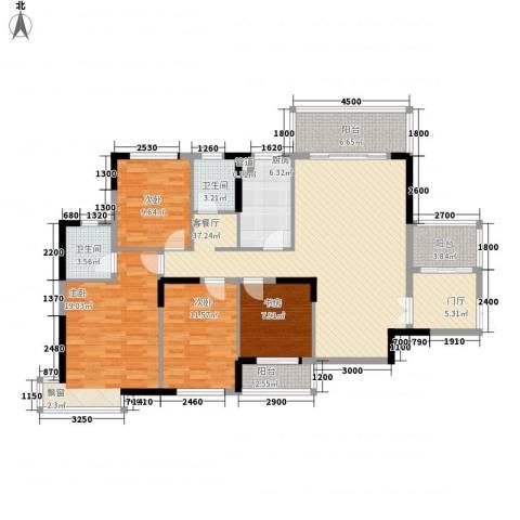 逸静园4室1厅2卫1厨167.00㎡户型图