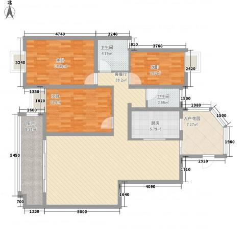 五岭国际3室1厅2卫1厨145.00㎡户型图
