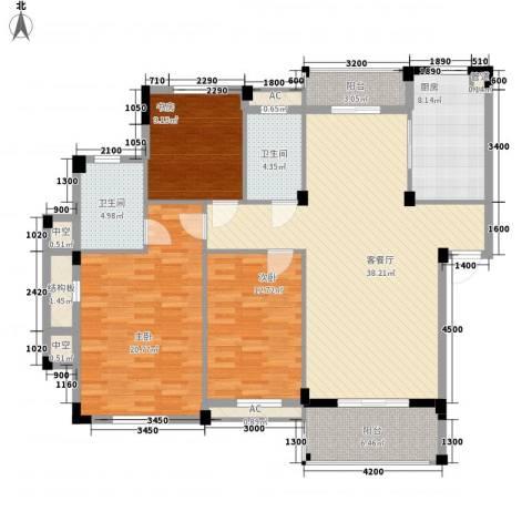 丰和新城二期3室1厅2卫1厨127.00㎡户型图
