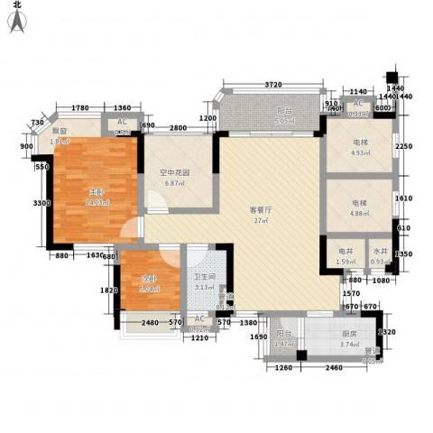 碧桂园翡翠山2室1厅1卫1厨96.52㎡户型图