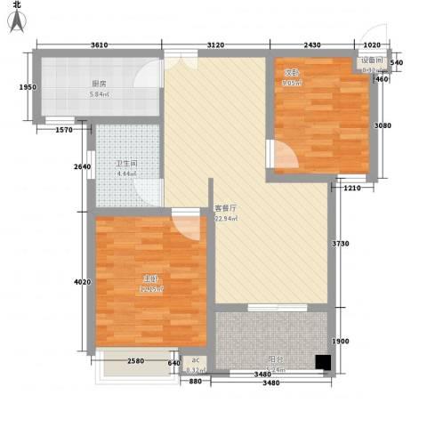 银泰花园2室1厅1卫1厨88.00㎡户型图