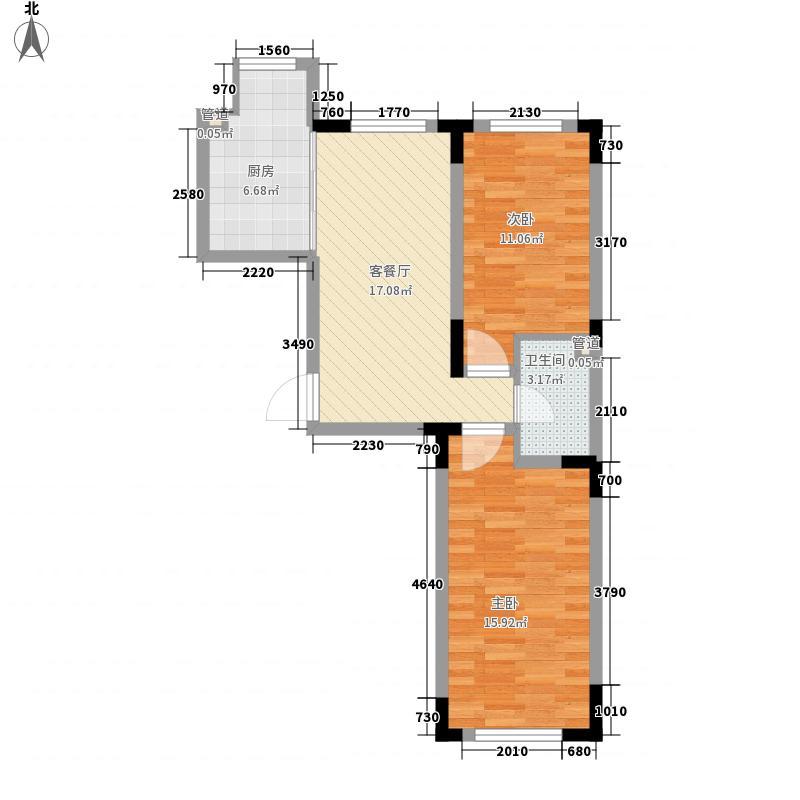 天富北苑77.13㎡B户型2室2厅1卫