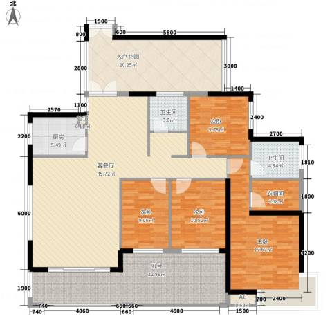 天利中央花园4室1厅2卫1厨161.00㎡户型图