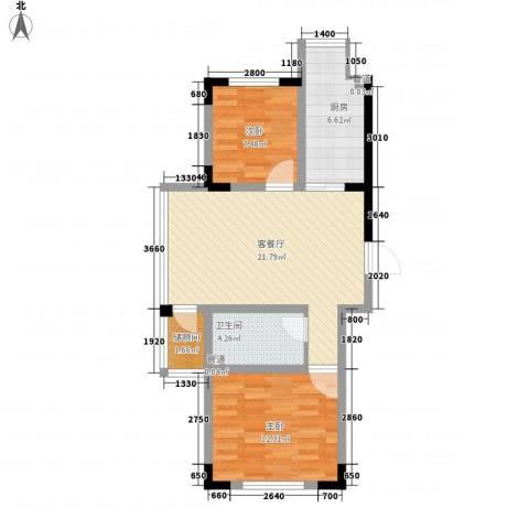 天富北苑2室1厅1卫1厨63.30㎡户型图