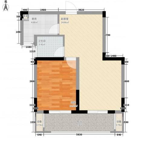 国际丽晶城1室0厅1卫1厨74.00㎡户型图