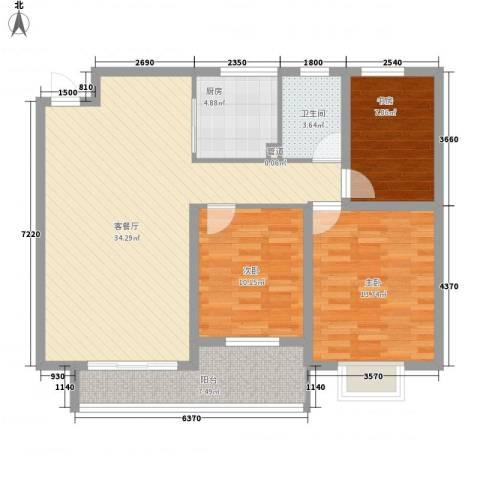 铭星小河印象3室1厅1卫1厨93.41㎡户型图