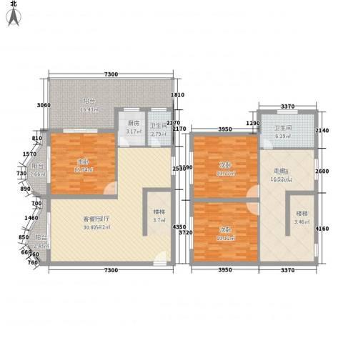 博鳌左岸3室1厅2卫1厨128.79㎡户型图