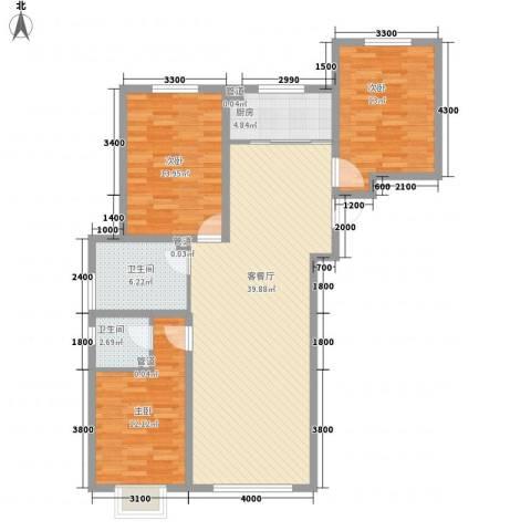 通安小区二期3室1厅2卫1厨131.00㎡户型图
