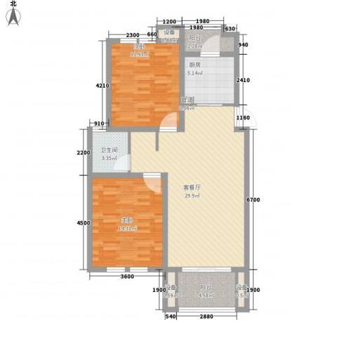 莲花E区2室1厅1卫1厨88.00㎡户型图