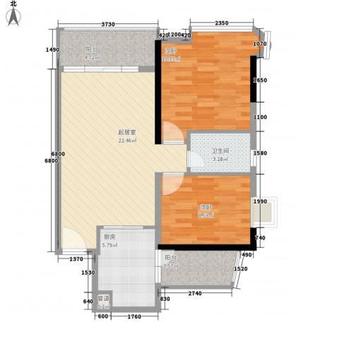 现代城市花园2室0厅1卫1厨87.00㎡户型图