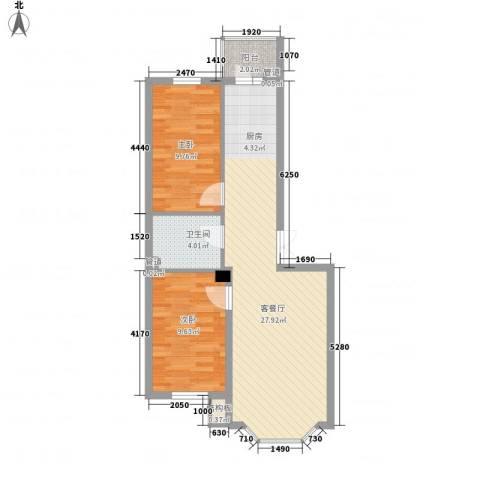 林海华庭2室1厅1卫0厨76.00㎡户型图