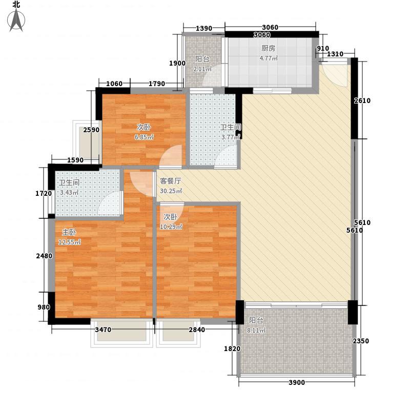 富通城二期96.63㎡A栋1座04奇数层户型3室2厅2卫1厨