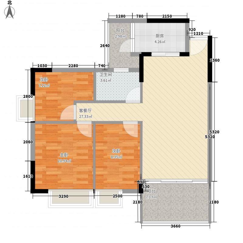 富通城二期94.01㎡B栋4座04奇数层户型3室2厅1卫1厨