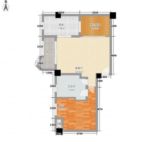 静安艺庭1室1厅1卫1厨91.00㎡户型图