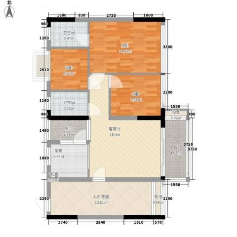金碧丽江东第3室1厅2卫1厨87.00㎡户型图