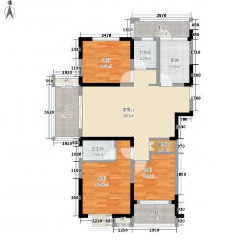 中宸御龙湾3室1厅2卫1厨121.00㎡户型图