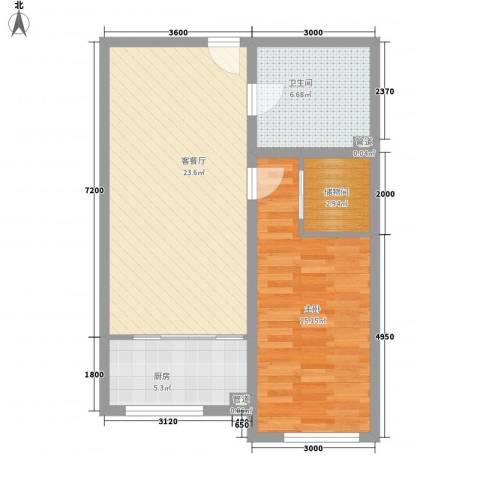 通安小区二期1室1厅1卫1厨77.00㎡户型图