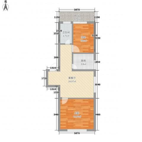 风华新苑2室1厅1卫1厨66.00㎡户型图