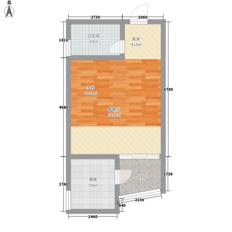 金阳花园54.80㎡商住楼户型1室2厅1卫1厨
